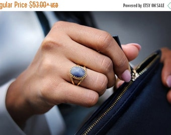 25% OFF SALE - Blue jade ring,oval ring,gold ring,bridal ring,birthday gift,bridesmaid gifts,lace rings,unique rings