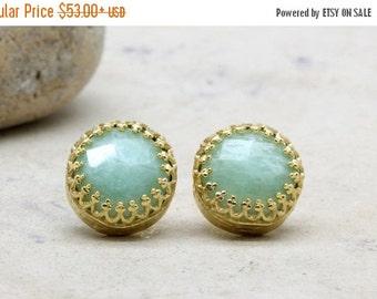 SUMMER SALE - amazonite earrings,sky blue earrings,gold post earrings,gemstone earrings,14k gold earrings
