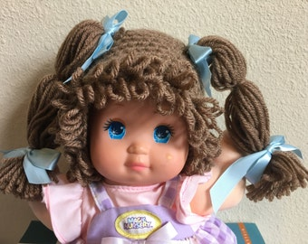 Cabbage Patch Kid Style Crocheted Brown Wig Hat Halloween Costume for Baby Girls Size Newborn to 12 Months