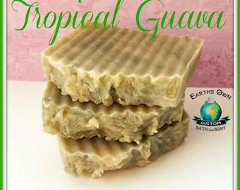 Tropical Guava Organic Shea Butter Soap Bar. Clean Tropical Aroma, Handmade, Moisturizing. Large 4 - 5 oz bar! Premium Quality