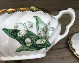 Vintage Lily of the Valley Sugar Bowl Golden Valley 22K Gold by Royal China Inc 22 K - #A1063