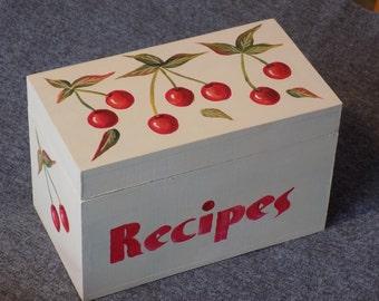 Recipe Box -- Cherry Design on Buttermilk Box