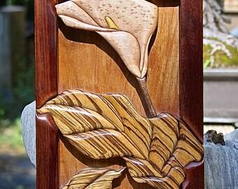 Hardwood Intarsia Callas Lily Wall Art