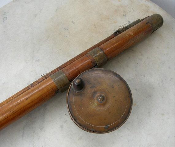 Items similar to antique fishing rod bamboo brass reel for Antique bamboo fishing rods