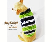 Seattle Seahawks Dog Sweater NFL Pet Jersey American Football Clothing Handmade Crocheted DK974 by Myknitt - Free Shipping