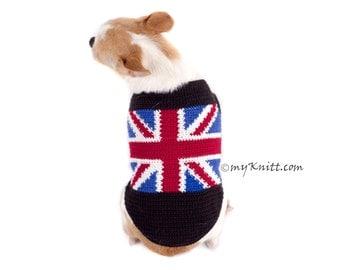 Union Jack Dog Sweater Handmade Crochet Chihuahua Clothes Britain UK Flag Custom Puppy Jersey DK789 by Myknitt - Free Shipping
