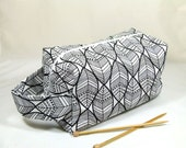 Knitting Project Bag - Large Zipper Box Bag in Black and White Leaf Patterned Fabric with Peach and Silver Polka Dot Cotton Lining