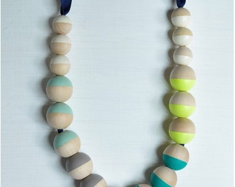 Navy Ribbon, Neon Chunky Wood Necklace