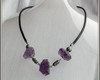 OOAK Natural Raw Amethyst gemstones Blackened sterling silver Black leather Necklace february gemstones