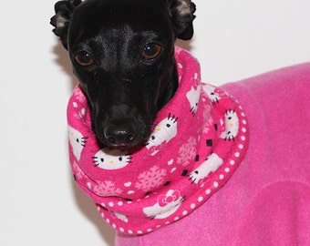 Italian Greyhound - SHADEDMOON DESIGN - Hot Pink Jammies with Sparkle Kitty Print jersey lined Snood/Neck Warmer - for info - see details