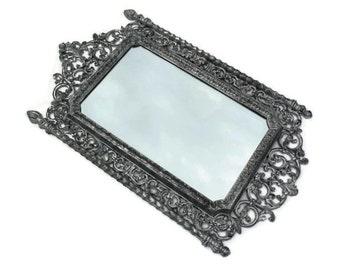 Ornate Gothic Mirror / Refurbished Vintage Syroco Mirror / Silver Black Mirror