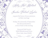 Lavender and Lace Wedding Invitations, Rustic Summer Wedding, Custom Wedding Invitation Listing for Ashley Mahlstedt