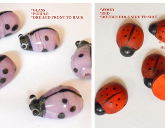 5 Lady Bugs Beads .... Your Choice ..... 5 Glass Purple Lady Bug Beads or 5 Red Wooden Double Hole Slider Lady Bug Beads