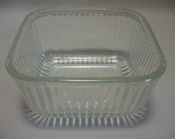 Refrigerator Bowl Jar Clear Glass Rib Line Designs 1950-1960