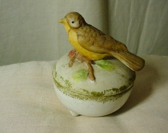 Bisque Bird Pin Cushion Covered Jar Hand Painted 1960s 1970s