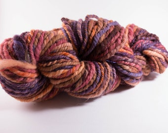 Handspun Yarn ,Bulky Yarn, Southwestern Sunset,88 yards, 6 wpi