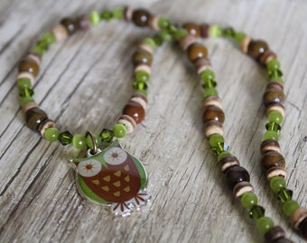 50% OFF CLEARANCE / Green and Brown Little Owl Necklace and Earring Set / Owl Necklace / Jewelry Set / Owl Jewelry / Chunky / Gifts for Her