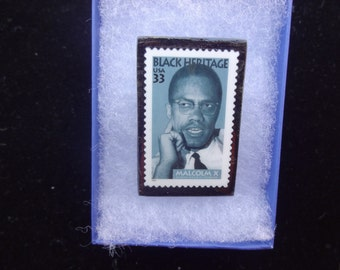Malcolm X Postage Stamp Pin