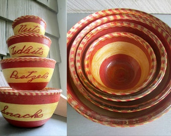 1950s Glass Nesting Snack Bowls Snacks Pretzels Tidbits Nuts Mid Century Party Bar Entertaining