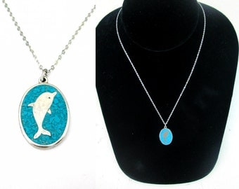 Turquoise Inlay Silver Dolpin Necklace 16 inch Chain