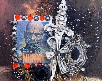 Boris Karloff as MUMMY- Scary Monster BROOCH - Mummy's Curse Collage PIN
