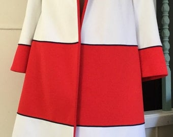 Vtg 60s Lilli Ann swing coat colour block S/M