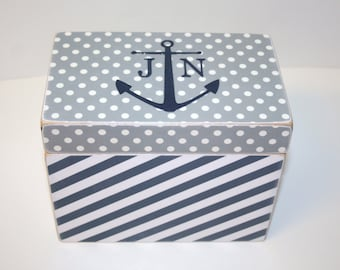 Recipe Box, Grey and Navy Recipe Box, Anchor Box, 4x6 Recipe, Nautical Box, Gray and Navy Recipe Box, Personalized Wedding Guest Book Box