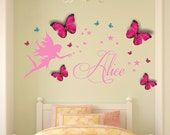 Personalised Name, Fairy, Wall Art Decal Sticker & 3D Personalised Butterflies 112cm W x 54.1cm H
