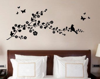 Bird on a Branch, Nature, Decorative Vinyl Wall Art Sticker Decal Mural, Bedroom, Lounge 100cm Wide x 40.3cm High