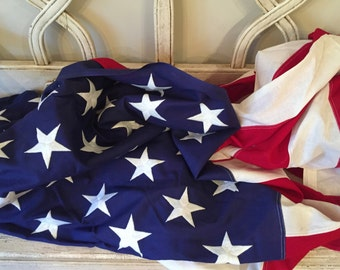 Vintage 50 Star American Flag - Extra Large Veteran Flag - Valley Forge - Stitched Stars