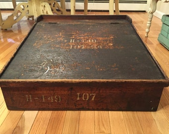 Antique Slope Writing Desk - Large Rustic Merchants or Military Desk - Pick-up Only