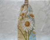 Hanging Double Kitchen Towel  Spring FlowerTowel Daisy Kitchen Towel Crochet Top Hanging Kitchen Towel
