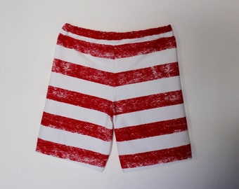 Girls Red and White Stripe Shorts