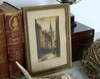 Little Antique Framed Paris Litho Print 'Rue Frederic Sauton.'