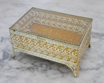 Vintage Filigree Brass and Glass Jewelry Casket. trinket box. cottage decor.