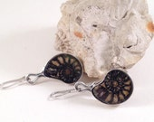 RESERVED - Silver Ammonite Dangle Earrings, Gift for her, ready to ship