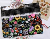Chalk Art Be Happy Cross Stitch, Embroidery Project Bag