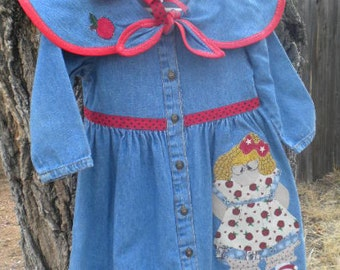 Size 2T Hang Ten Denim Girls Appliqued Dress