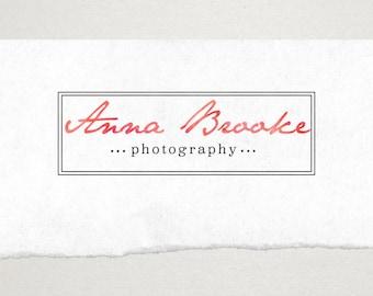 Premade Logo // Logo Design // Business Logo //  Photography Logo // Watercolor Logo // Rectangle Border Logo