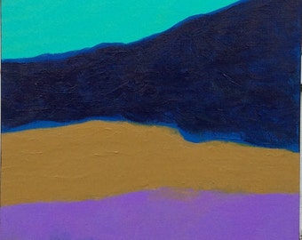 Abstract Painting - Artist with Autism - Purple Teal Mustard Blue