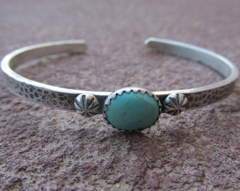 Sterling Silver Turquoise cuff bracelet - stackable Cowgirl Cuff
