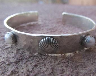Sterling Silver Artisan Seashell Cuff Bracelet with White Pearl Preppy Palm Beach Ocean Nautical Bracelet