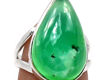 Authentic Undyed Apple Green Chrysoprase Ring. 5 - 6. Solid Sterling Silver.
