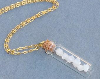 NEW White Druzy Ball Necklace,Druzy Quartz Geode Bottle Necklace,Unique Boho Long Necklace,Layering,Genuine Druzy Quartz Gemstone,White,OOAK