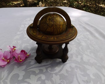 Vintage World Globe with signs of the zodiac matching to months,circa 50-s.ITALY.Wooden art piece. Geography.Home decor. Astronomy.Gift