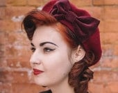Red Hat- Wine Red Beret Hat with Wine Red Velvet Bow