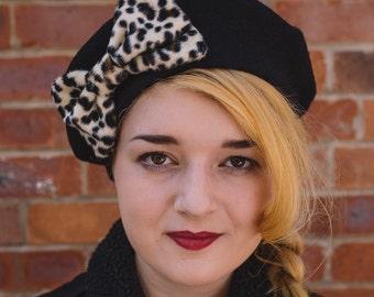 Black Hat, Black Beret Hat with Leopard Fake Fur Bow, Black Wool Beret Hat, Black Felt Beret Hat, Black French Beret Hat, Black Winter Hat