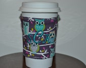 Owl Coffee Cozy - Monogrammed or Personalized