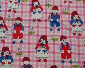 "Cute Vintage Cotton Decorator Fabric, 39"", 50"" Wide Children's Print"