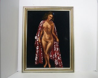 MATURE-- Original Painting - Nude Hawaiian Hula Girl / Island Girl on VELVET - Maybe Lavisse
